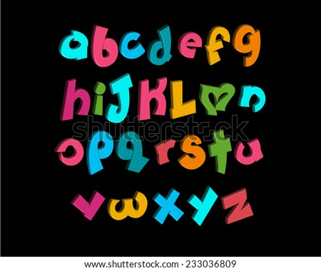 3-D vector of stylized playful alphabets - stock vector