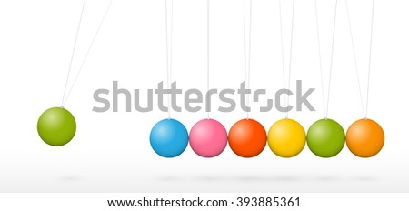 3D Vector Pendulum  - Newton's Cradle - Seven Colorful Pendulum in Raw with Shadow - Isolated on White Background. Green, Blue, Red, Pink, Orange and Yellow Colors. Panorama, Horizontal Banner.