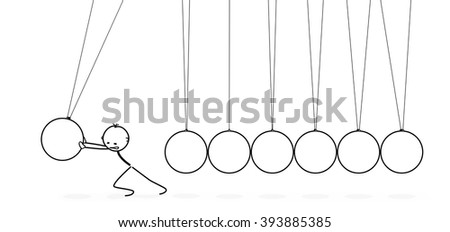 3D Vector Pendulum with Stickman Cartoon Figure  - Newton's Cradle - Push the Cradle. Seven White Pendulum in Raw with Shadow Isolated on White Background - Panorama, Horizontal Banner. - stock vector