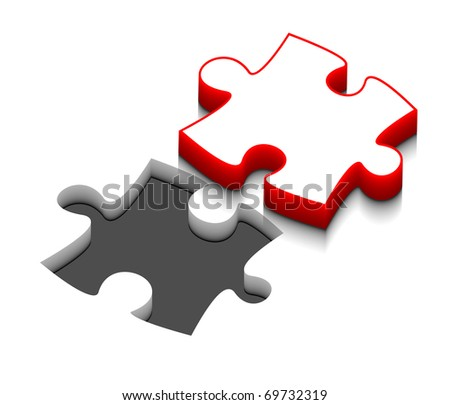 3d vector puzzle design with isolated on white. - stock vector