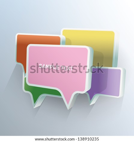 3d Vector rectangle chat bubbles with place for text - stock vector
