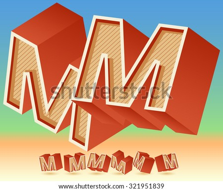3D vector retro alphabet for summer typography design. All symbols in set have 8 random points of view. Letter M - stock vector