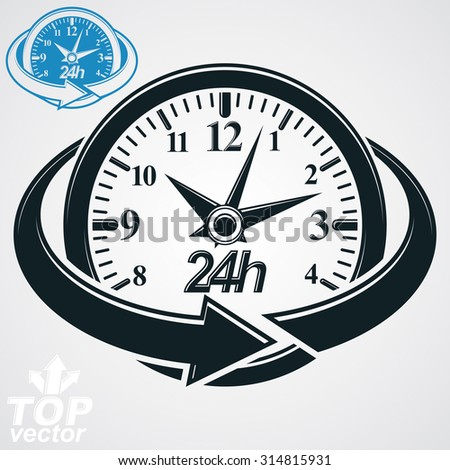 3d vector round 24 hours clock with arrow around. All the time idea symbol. Twenty-four hours a day conceptual elegant icon. - stock vector