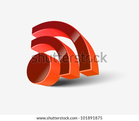 3d vector rss icon design element. - stock vector