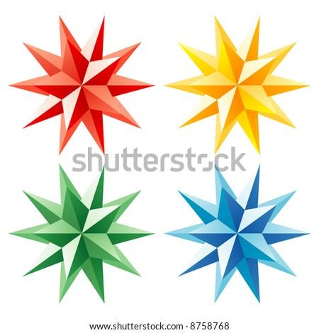3d vector shining star - stock vector