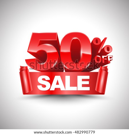 3d vector shiny red discount 50 percent off and sale on red ribbon. Vector illustration for promotion discount sale advertising.