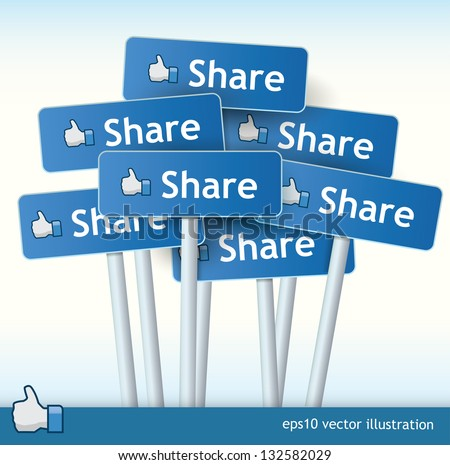 3d vector signposts with the text share on them and a thumb up for liking concept - stock vector