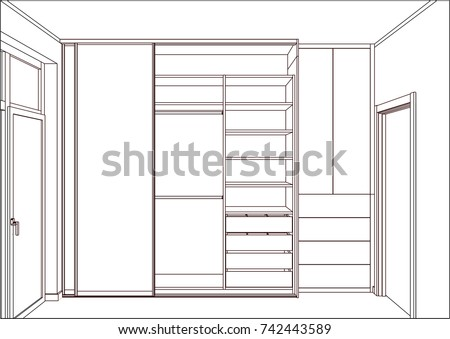 3D Vector Sketch Empty Wardrobe With Sliding Doors In The Interior