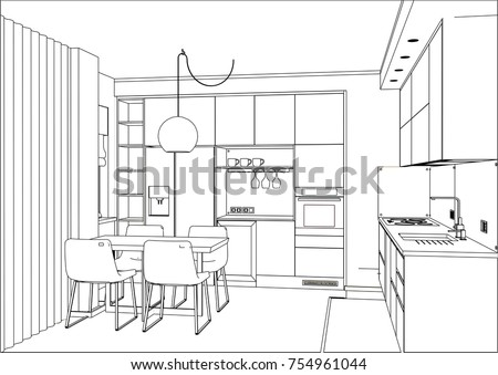 sketch kitchen design 3 d vector sketch modern kitchen design stock vector 2288