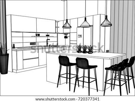 Great 3D Vector Sketch. Modern Kitchen Design In Home Interior. Kitchen Sketch.  There Is