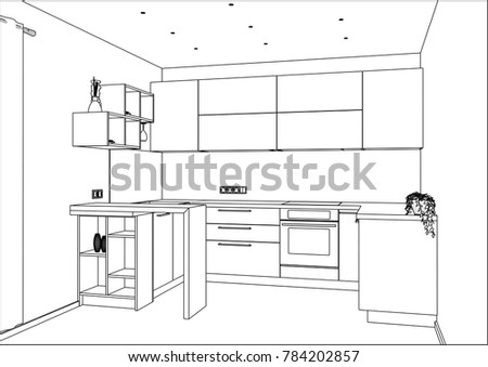 3D Vector Sketch. Modern Kitchen Design In Home Interior. Kitchen Sketch  With Decorations And
