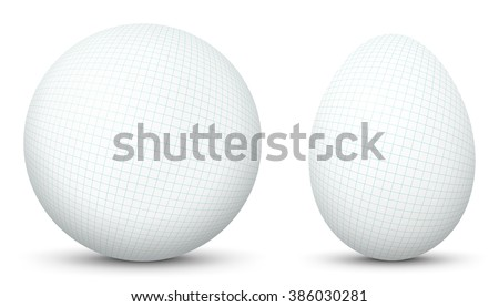 3D Vector Sphere and Egg - Side by Side - Geometrical Objects Textured with Maths Graph Paper. Spherical and Egg Shaped Item. Orb and Oval - Isolated on White Background - Each Form in Own Layer. - stock vector
