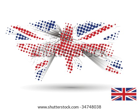 3d vector united kingdom flag with sample of the uk flag. (Only gradient used, easy to edit ) - stock vector