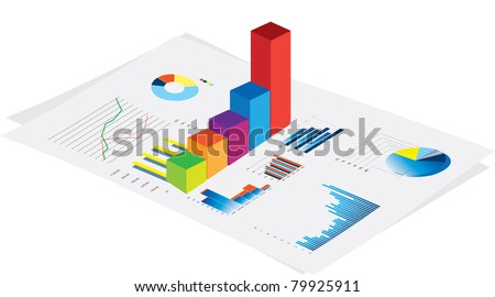 3d vector visual of business financial performance graphs on white background - stock vector