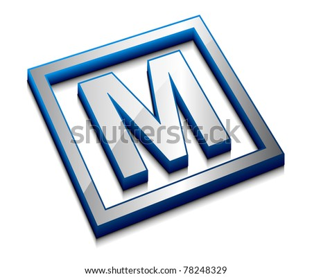 3d vector web design alphabet symbol - M - stock vector