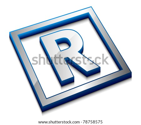 3d vector web design alphabet symbol - R - stock vector