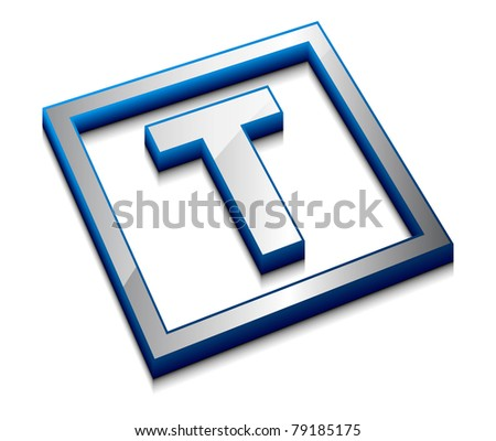 3d vector web design alphabet symbol - T - stock vector
