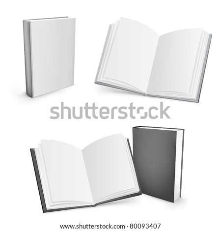 3d vector white and black mesh books isolated on the white background - stock vector
