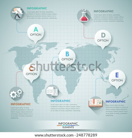 3d vector world map illustration and infographics design template. Can be used for workflow layout, banner, diagram, number options, step up options, web design, timeline. - stock vector