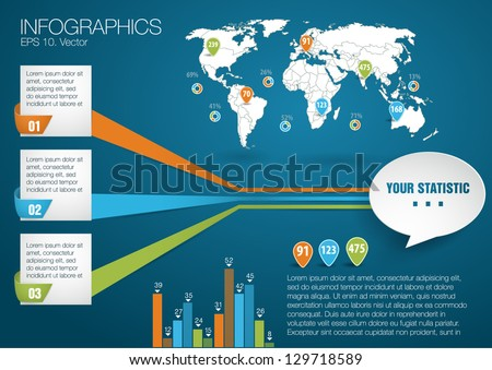 3d vector world map illustration and infographics design template. paper style - stock vector