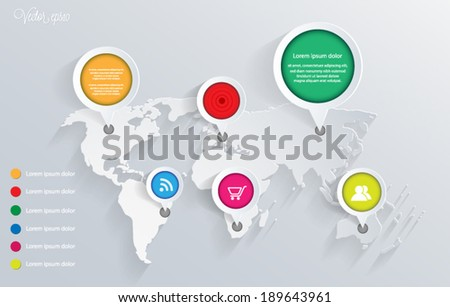3d vector world map illustration and infographics design template. vector eps10. - stock vector