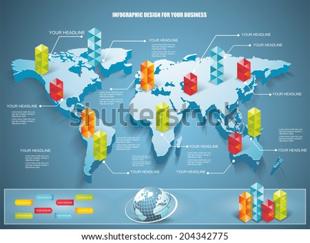 3d vector world map illustration with modern elements of info graphics. - stock vector