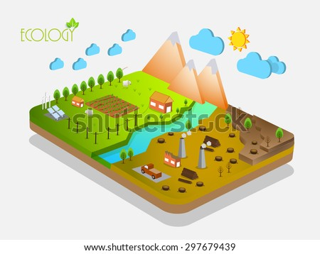 3D view of a energy industry on grey background, Creative infographic template layout for ecology concept. - stock vector
