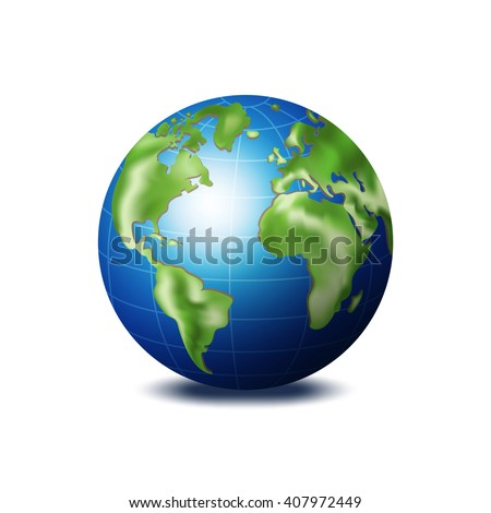 3d view of earth. World globe vector illustration with shadow on white background.