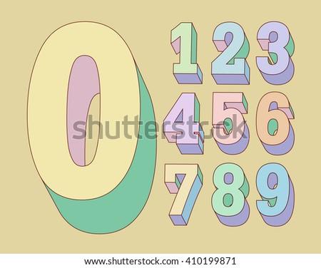 3d volumetric letters pastel tones.  Zero 0 One 1 Two 2 Three 3 Four 4 Five 5 Six 6 Seven 7 eight 8 nine 9. eps8 - stock vector