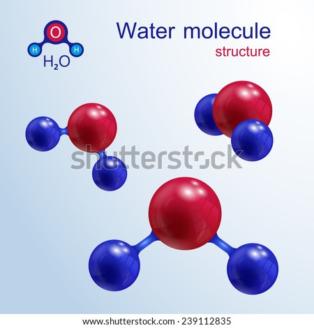 3 D water molecule. Icon and chemical formula, H2O, 2d & 3d. Vector illustration. - stock vector