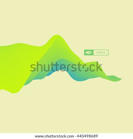 3D Wavy Background. Dynamic Effect. Abstract Vector Illustration. Design Template. Modern Pattern. - stock vector