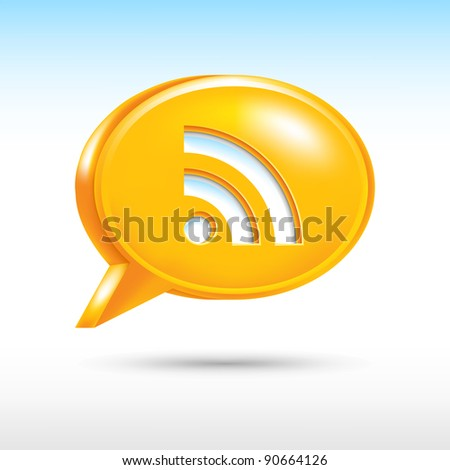 3D web button icon with RSS sign. Orange speech bubble shape with drop gray shadow on white background. Vector illustration created in the technique of wire mesh and saved eps 8