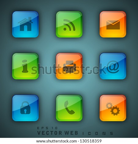 3D web 2.0 mail icons set. Can be used for websites, web applications. email applications or server Icons. EPS 10. - stock vector