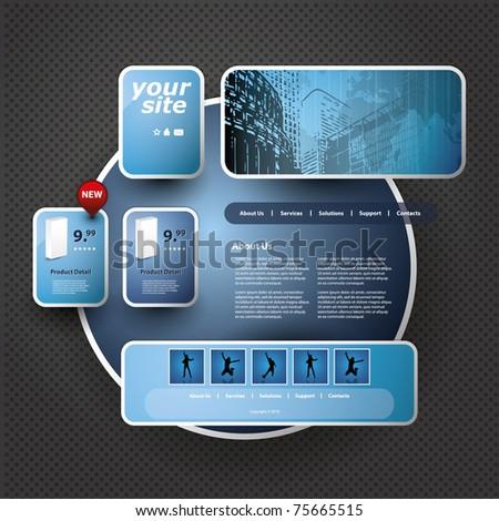 3D Website Template - stock vector