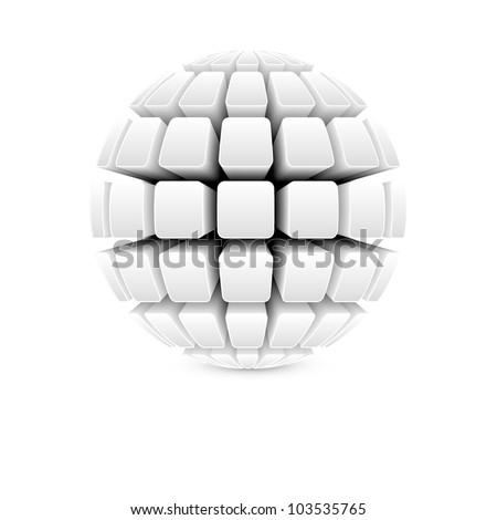 3d white ball vector - stock vector