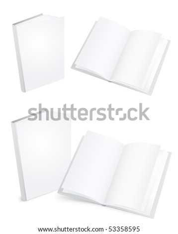 3d white books isolated on the white background - stock vector