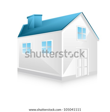 3d white house with shadow over white background. vector
