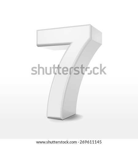 3d white number 7 isolated on white background