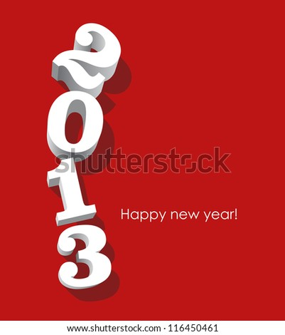 3d white 2013 numbers oriented vertically on red background. Vector image. - stock vector