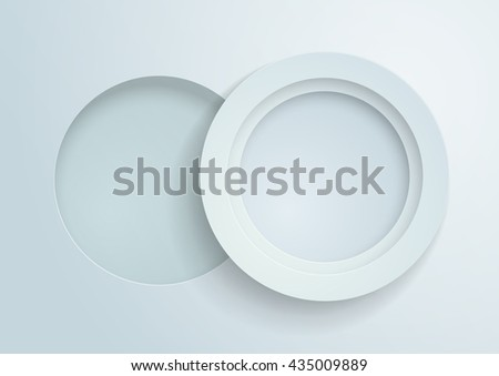 3D White Paper Circles Background, Vector Illustration