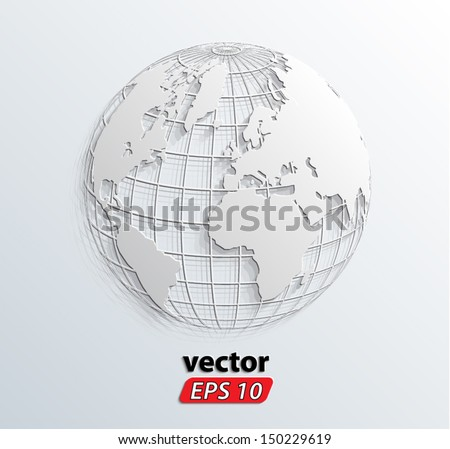3d white relief world globe/ vector illustration eps 10 - stock vector
