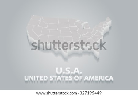 3D White USA Map