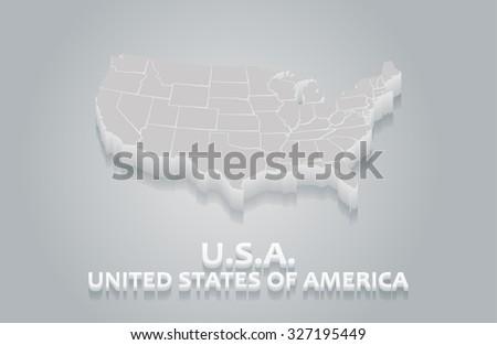 3D White USA Map - stock vector