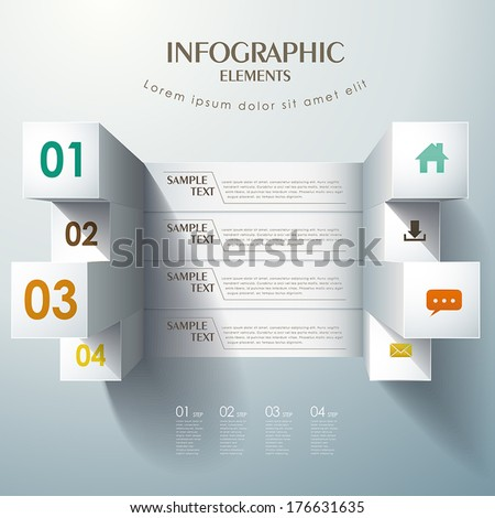 3d white vector abstract bar chart infographic elements - stock vector