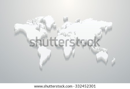 3D White Vector World Map - stock vector