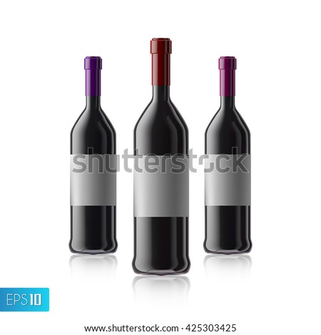 3d wine bottle mock up with red isolated on white background.Winery production.wine label.wine bottle - stock vector
