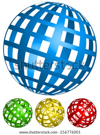 3D Wire-frame, Grid Spheres with Wide Stripes. 4 Angles, in 4 colors - stock vector