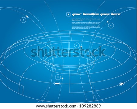 3D wire frame space ship - stock vector