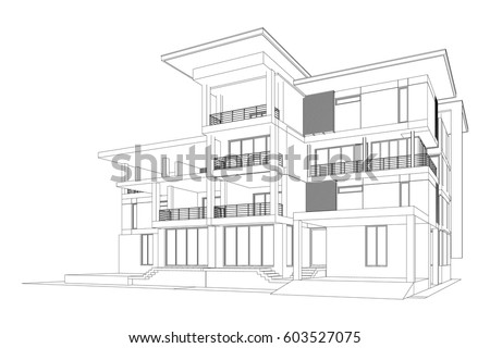 3d Wireframe Building Stock Images Royalty Free Images Vectors