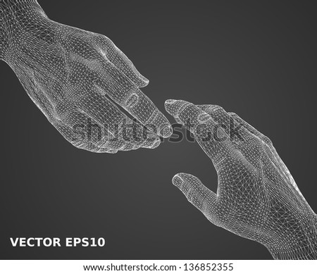 3d wireframe of man hand - stock vector